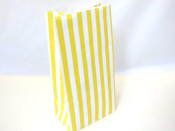 Yellow Candy Stripe Paper Bag (25x13x8)