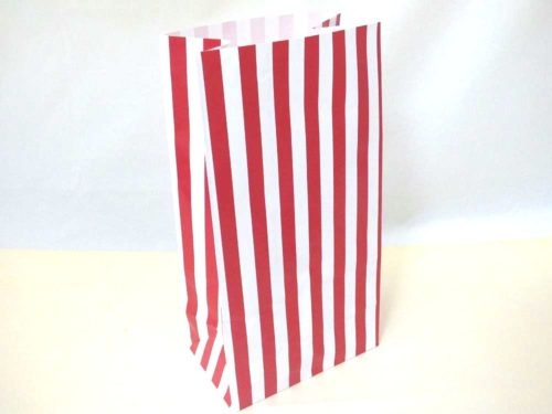 Red Candy Stripe Paper Bag (25x13x8)