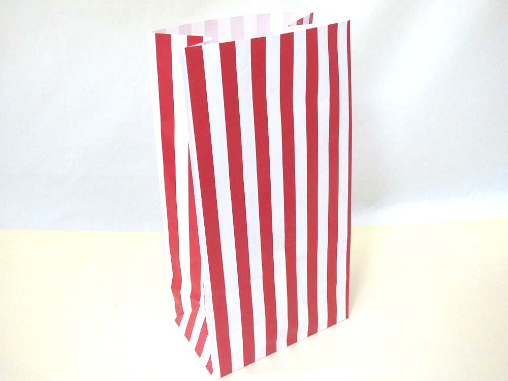 Red Candy Stripe Paper Bag (25x13x8)