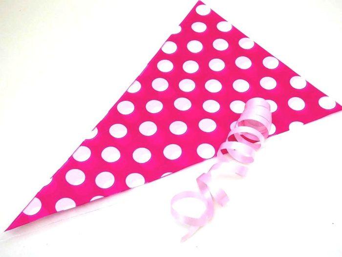Pink Polka Dot Cellophane Cone