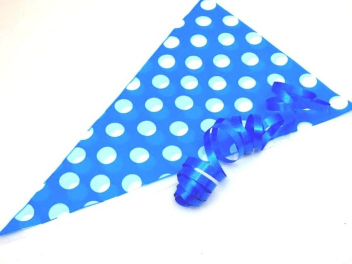 Blue Polka Dot Cellophane Cone