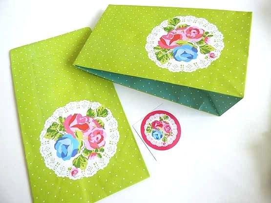 Green Vintage Rose Paper Party Bag & Sticker