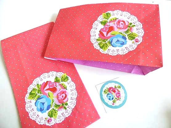 Pink Vintage Rose Paper Party Bag & Sticker