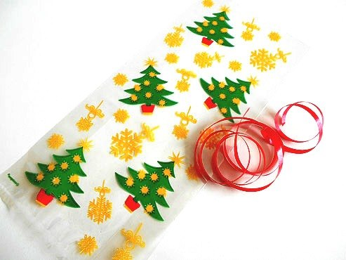 Golden Christmas Tree Cellophane Bag