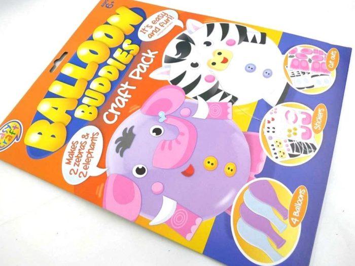 Easy Craft Kit - 4 Balloon Buddies - ELEPHANTS & ZEBRAS