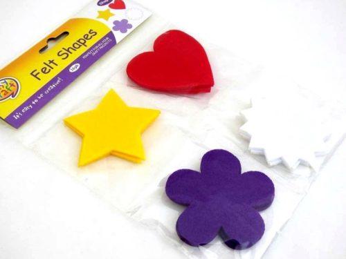 16 Felt Shapes - STARS HEARTS & FLOWERS