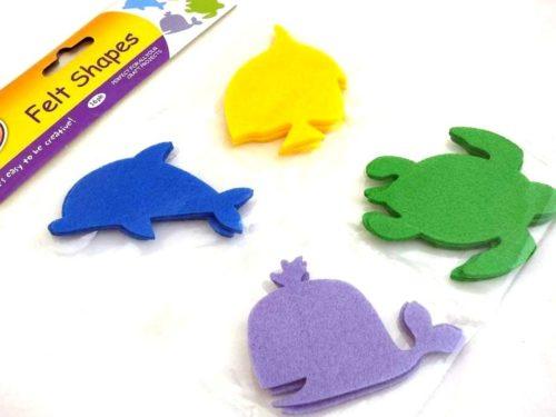 16 Felt Shapes - SEA ANIMALS