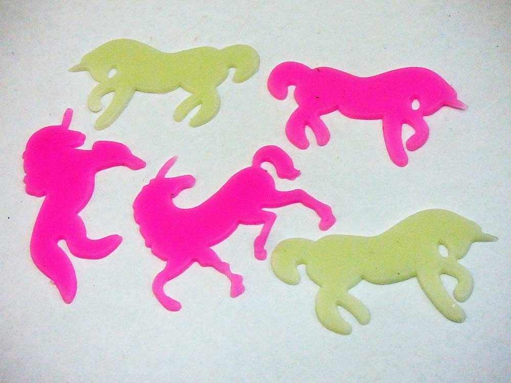 5 Self Adhesive Glow in the Dark Unicorn