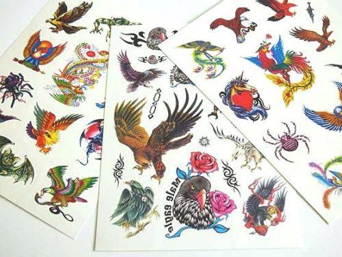 Large Coloured Tattoo Sheet - Eagles