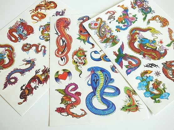 Large Coloured Tattoo Sheet - Serpents