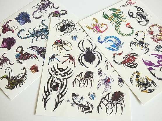 Large Coloured Tattoo Sheet - Spiders & Scorpions