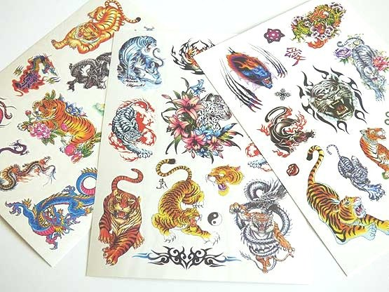 Large Coloured Tattoo Sheet - Tigers