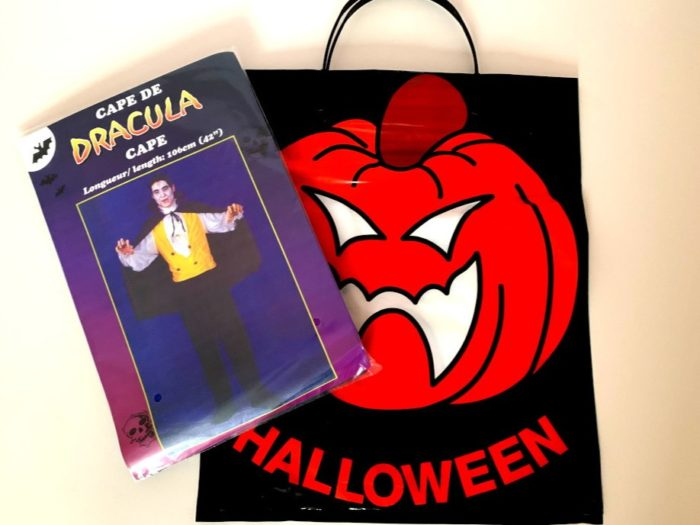 Dracula Cape in Pumpkin Clip Bag