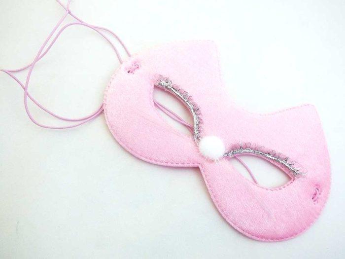 Velvet Pink Pussy Cat Mask