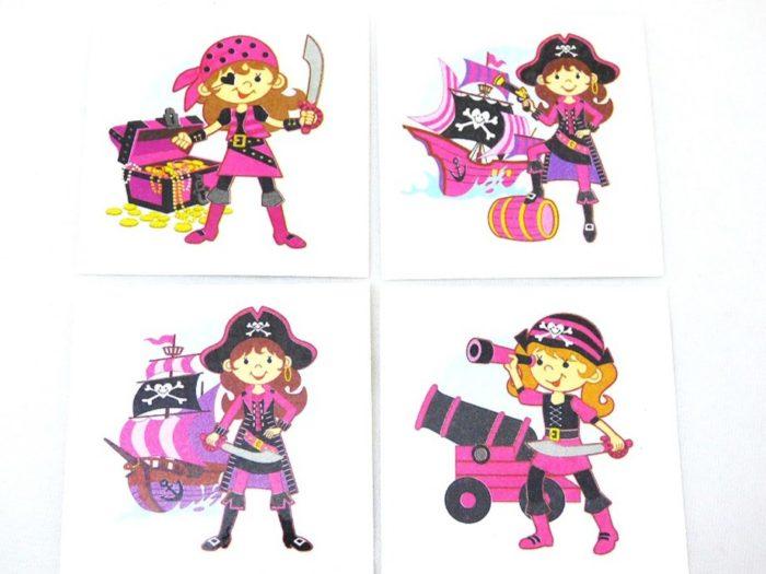 Single Pink Pirate Tattoo