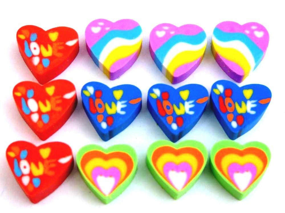 12 Mini Heart Erasers