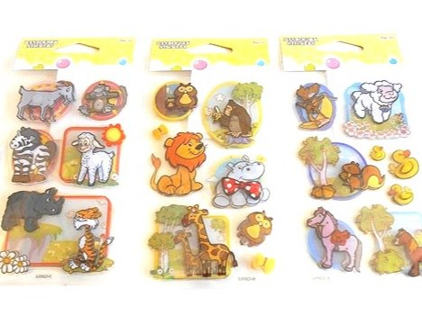 3D Layered Cartoon Animal Sticker Sheet