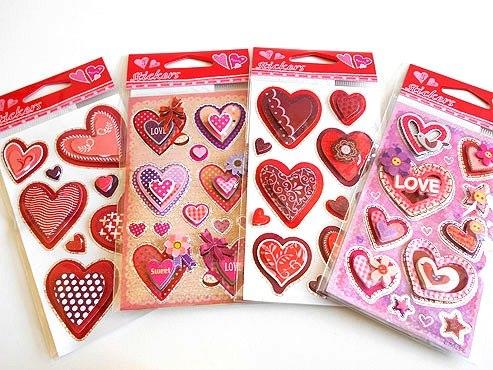 3D Layered Heart Sticker Sheet