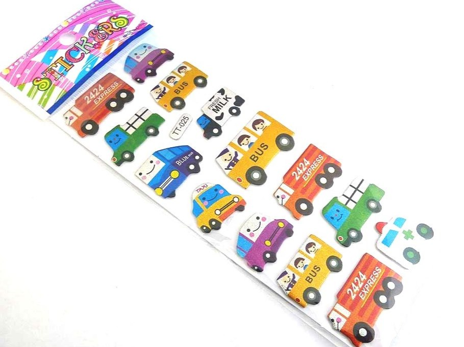 Sparkle Sticker Sheet - Cartoon Truck & Bus