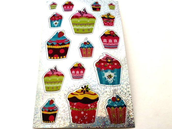 Shimmery Cupcake Sticker Sheet