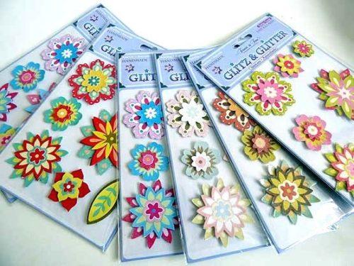 3D Glitz & Glitter Handmade Flower Stickers