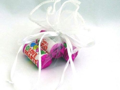 White Organza Pouch of Love Hearts