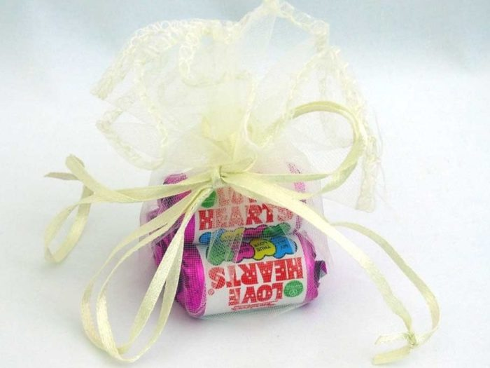 Ivory Organza Pouch of Love Hearts