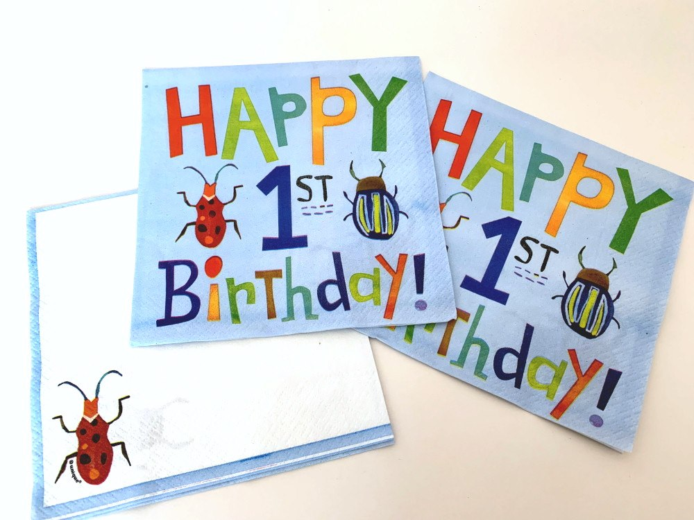 Blue Bug 1st Birthday Napkins