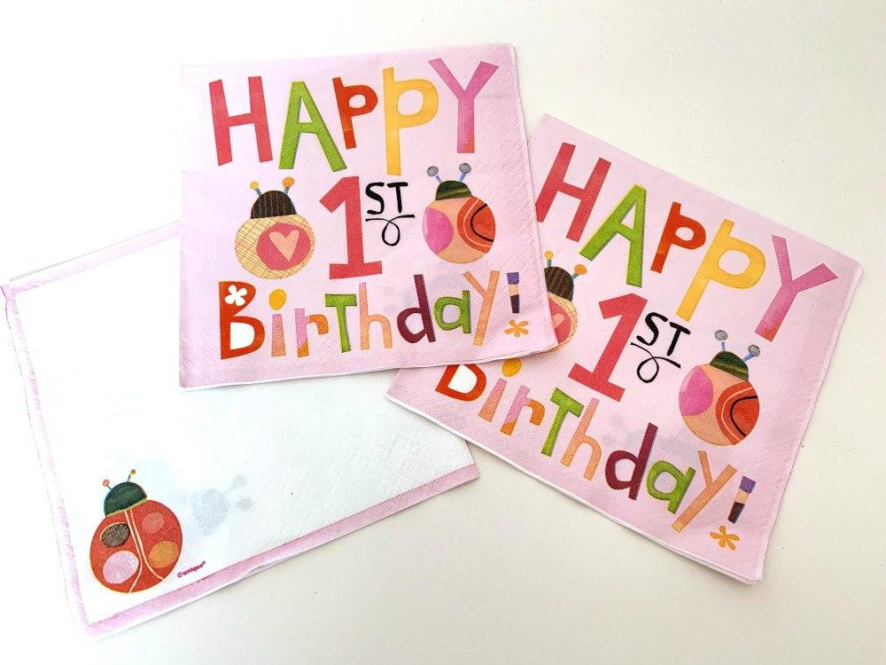 Pink Bug 1st Birthday Napkins