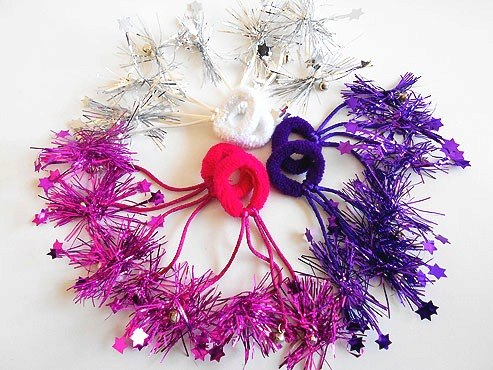 Pair Jingle Tinsel Hair Elastics