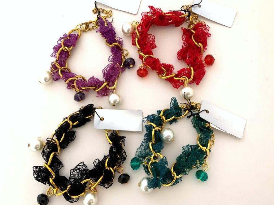 Vintage Gilt Chain and Lace Bracelet.