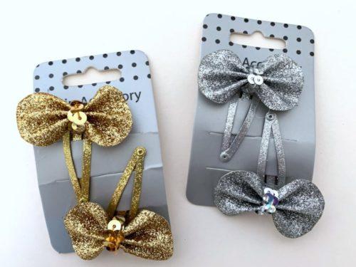Pair Glitter Bow Hair Clips