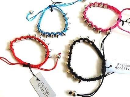 Silver Spike Corded Bracelet