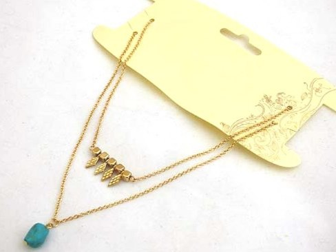 2 Strand Gold Necklace with Real Turquoise Stone