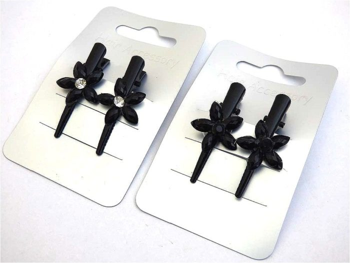 Pair Mini Black Flower Beak Clips