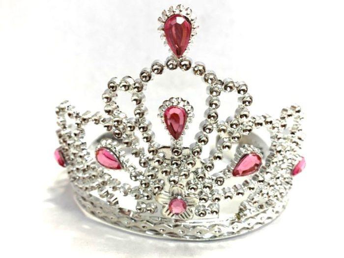 Silver Tiara with Pink Gem Stones