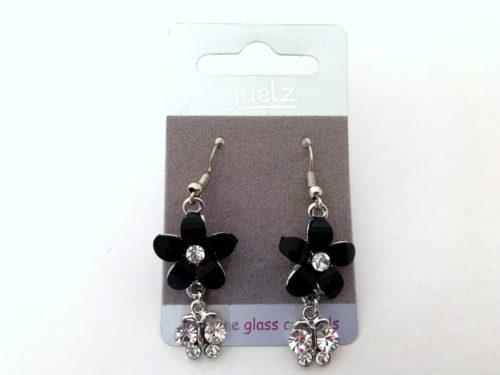 Vintage Black Crystal Daisy Earrings