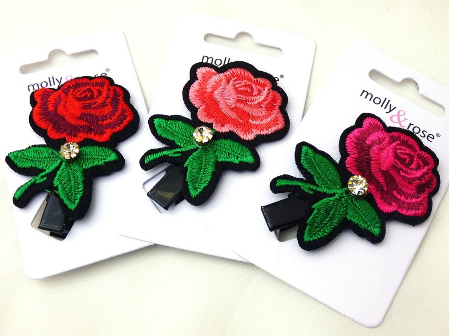Embroidered Rose Hair Clip with Diamante Crystal