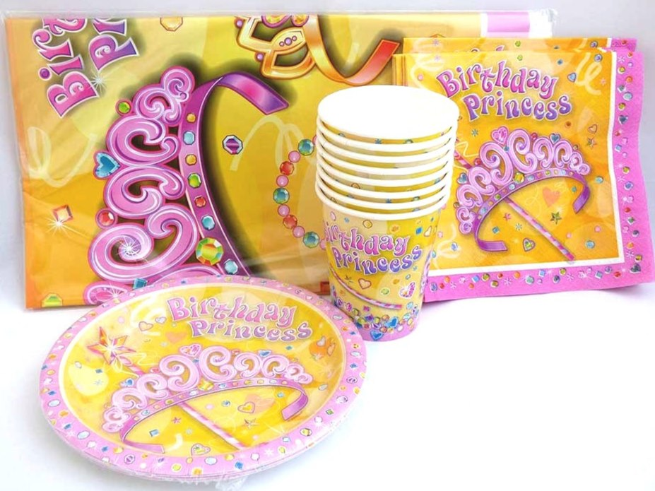 Princess Tiara Table Setting Party Pack for 8 people
