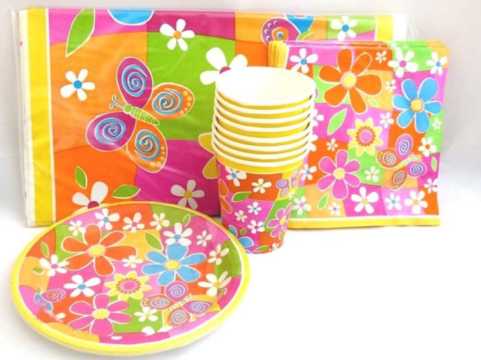 Flower Power Table Setting Party Pack for 8 people