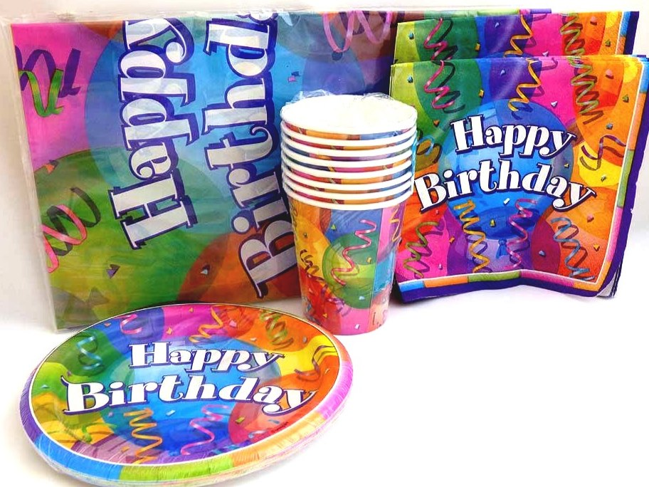 Happy Birthday Table Setting Party Pack for 8 people