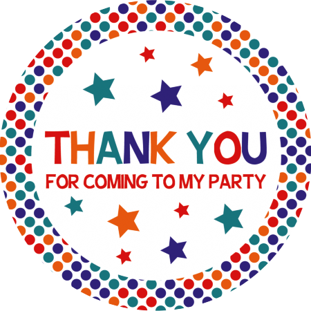 Self-Adhesive Thank You for Coming Label - Carnival