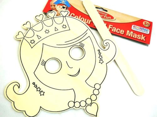 Wooden Colour-In Face Mask - Princess