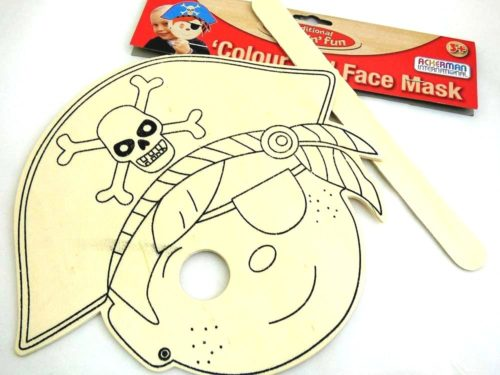 Wooden Colour-In Face Mask Pirate