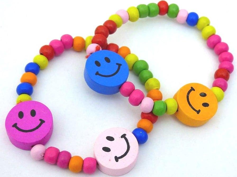 Smiley Wooden Bead Bracelet