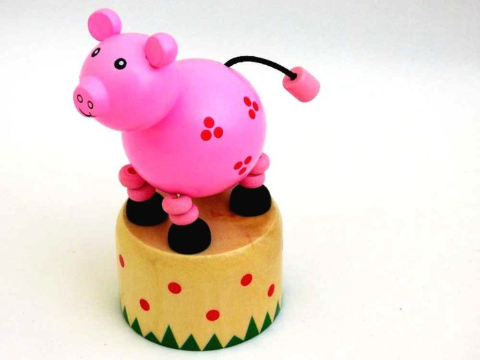 Wooden Pig Push-Up Toy