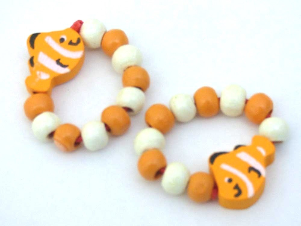 Wooden Bead Clown Fish Ring