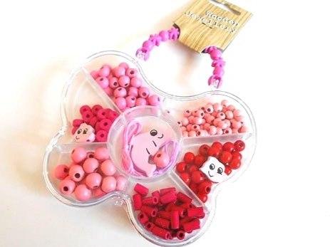 Pink Wooden Bead Jewellery Kit