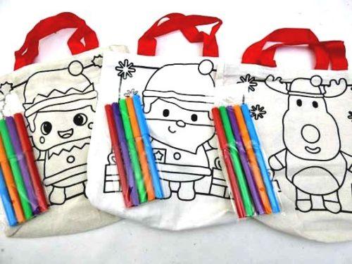 Christmas Colour-In Canvas Bag - Robin, Reindeer or Santa