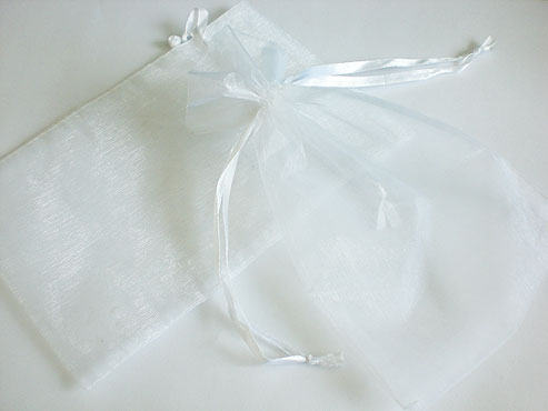 Large White Organza Drawstring Bag